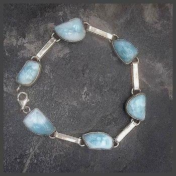 6 free form stone Sterling Silver Larimar Bracelet